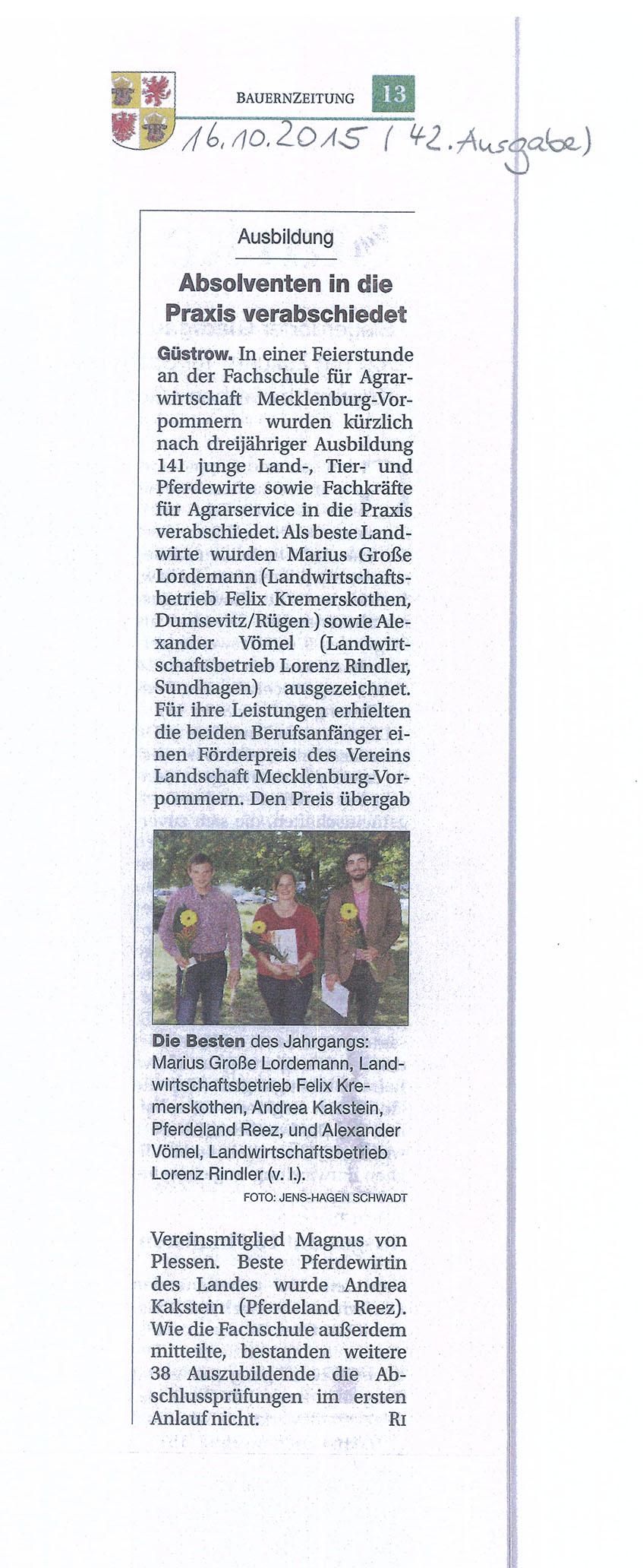 Bauernzeitung 2015