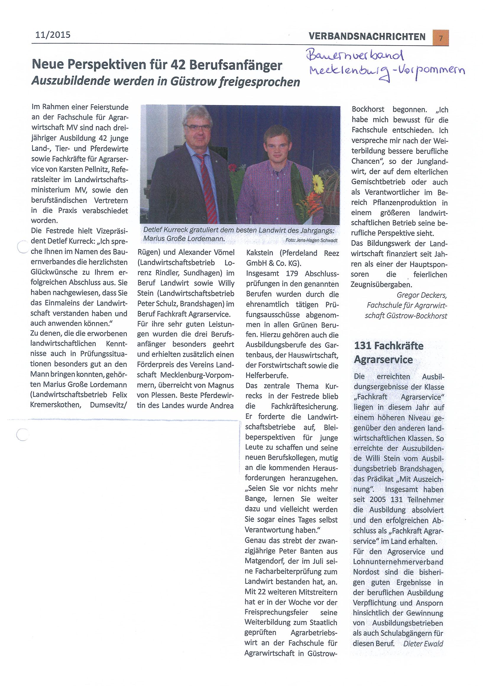Verbandsnachrichten Bauernverband 2015